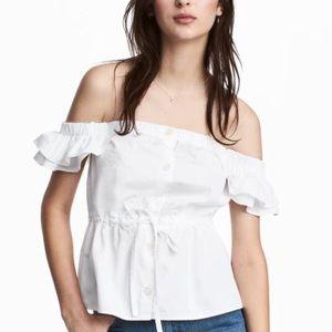 White Cotton Off Shoulder Button Peplum Top